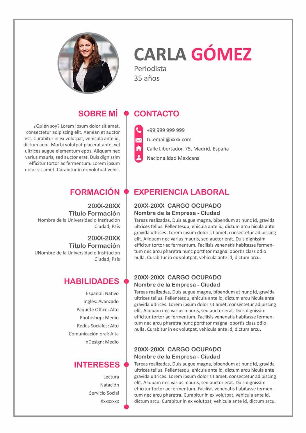 modelo curriculum vitae 2018 chile