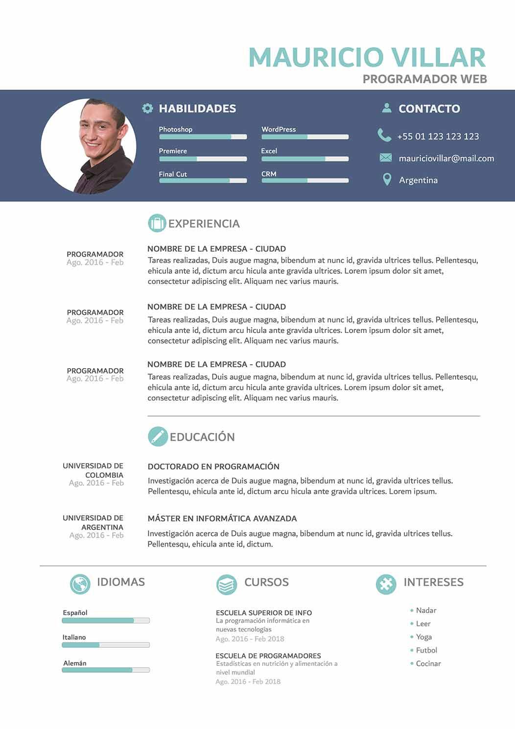 Modelo Cv Sky Modelo De Curriculum Word Listo Para Imprimir