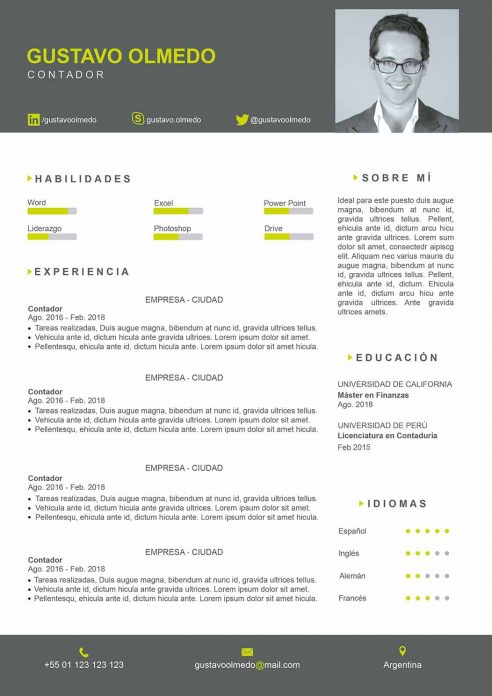 plantilla de curriculum photoshop